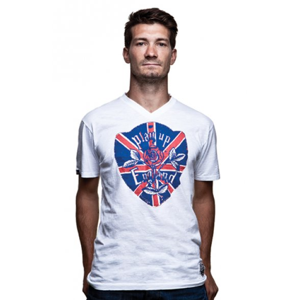 Play up England Vintage V-Neck T-Shirt // White 100% cotton