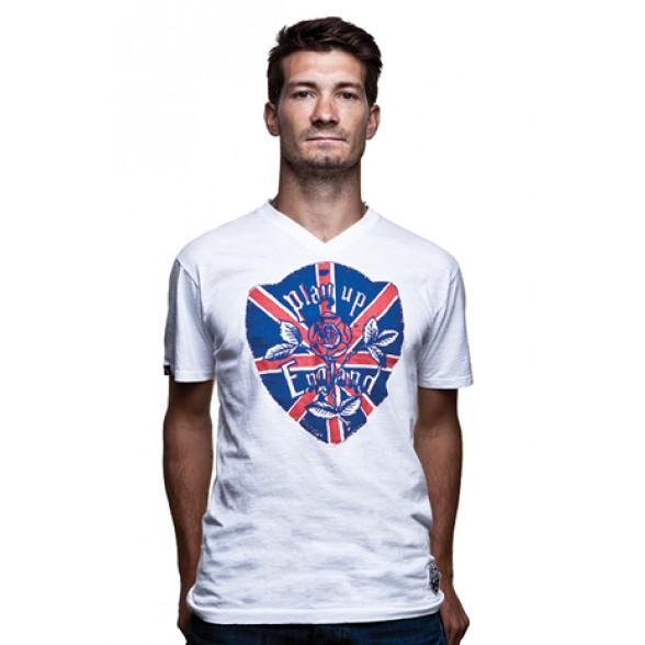Play up England Vintage V-Neck T-Shirt // White 100% cotton
