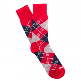 Argyle Pitch / Red - Navy Blue - Grey - White