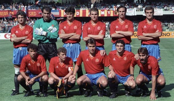 Spain National Football Team with 1990 shirt at World Cup
