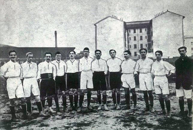 Italian national football team in 1910, friendly game Italy-France