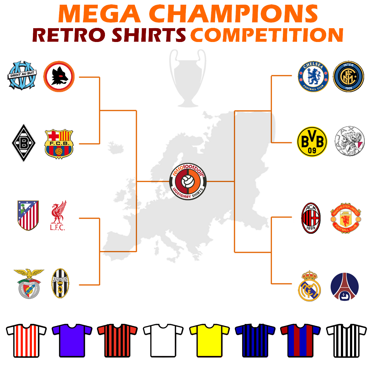 Table Mega Champions Retro Shirts Competition